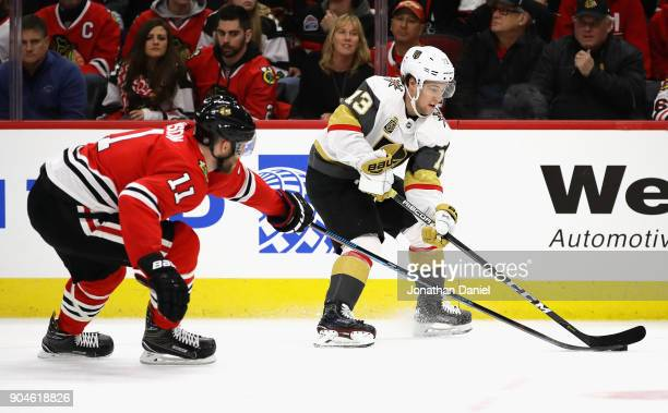 Brendan Leipsic of the Vegas Golden Knights advances the puck under pressure from Cody Franson of the Chicago Blackhawks at the United Center on...