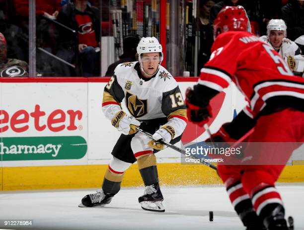 Brendan Leipsic of the Vegas Golden Knights controls the puck on the ice during an NHL game against the Carolina Hurricanes on January 21 2018 at PNC...