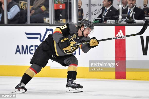 Brendan Leipsic of the Vegas Golden Knights dumps the puck against the Columbus Blue Jackets during the game at TMobile Arena on January 23 2018 in...