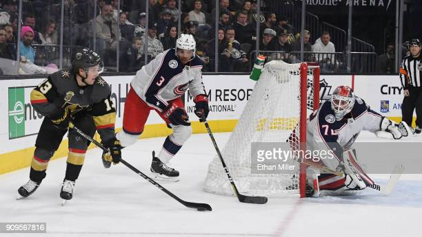 Brendan Leipsic of the Vegas Golden Knights skates with the puck against Seth Jones and Sergei Bobrovsky of the Columbus Blue Jackets in the second...