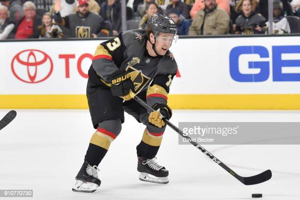 Brendan Leipsic of the Vegas Golden Knights skates with the puck against the New York Islanders during the game at TMobile Arena on January 25 2018...