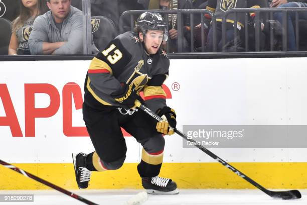 Brendan Leipsic of the Vegas Golden Knights skates with the puck against the Philadelphia Flyers during the game at TMobile Arena on February 11 2018...