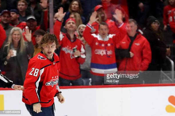 Brendan Leipsic of the Washington Capitals is separated from a second period fight against the Anaheim Ducks at Capital One Arena on November 18 2019...