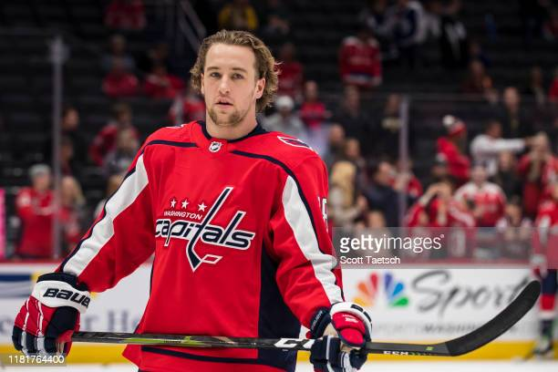 Brendan Leipsic of the Washington Capitals looks on before the game against the Toronto Maple Leafs at Capital One Arena on October 16 2019 in...