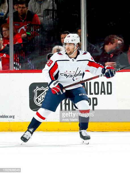 Brendan Leipsic of the Washington Capitals skates in the firstperiod against the New Jersey Devils during the game at the Prudential Center on...