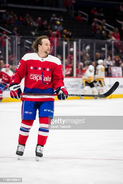 Brendan Leipsic of the Washington Capitals skates in warm-ups prior to the game against the Pittsburgh Penguins at Capital One Arena on February 2,...