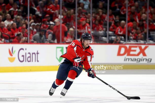 Brendan Leipsic of the Washington Capitals skates with the puck against the Dallas Stars in the second period at Capital One Arena on October 08 2019...