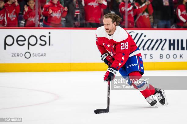 Brendan Leipsic of the Washington Capitals skates with the puck before the game against the Pittsburgh Penguins at Capital One Arena on February 2...