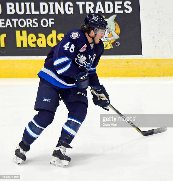 Brendan Lemieux of the Manitoba Moose turns up ice against the Toronto Marlies during AHL game action on December 17 2017 at Ricoh Coliseum in...