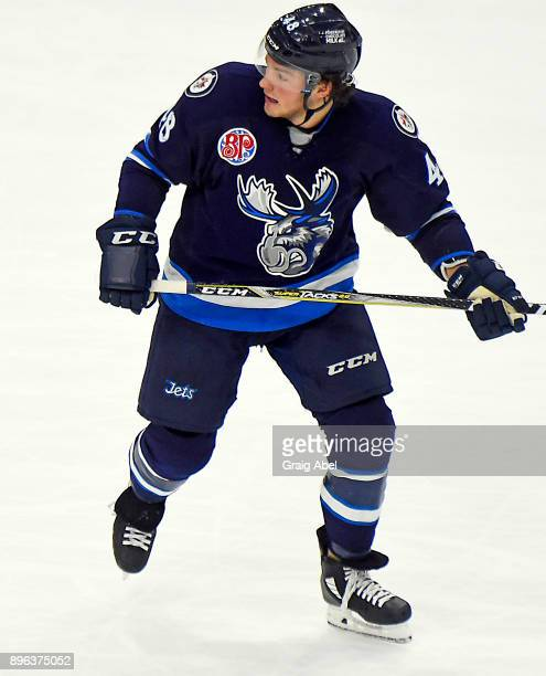 Brendan Lemieux of the Manitoba Moose watches the play develop against the Toronto Marlies during AHL game action on December 17 2017 at Ricoh...