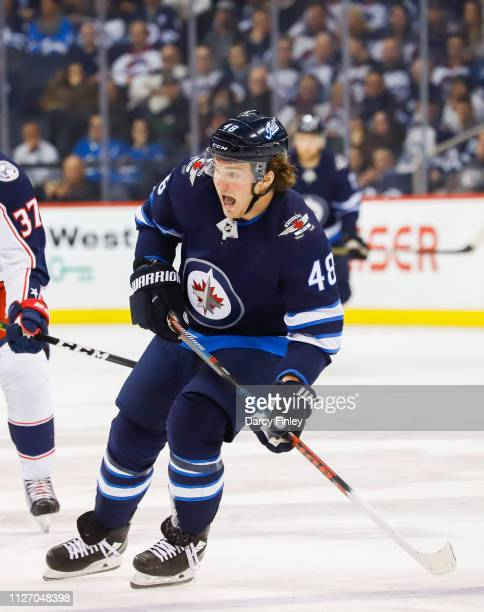 Brendan Lemieux of the Winnipeg Jets calls for the puck during first period action against the Columbus Blue Jackets at the Bell MTS Place on January...