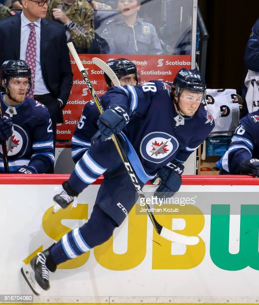 Brendan Lemieux of the Winnipeg Jets changes on the fly during third period action against the Arizona Coyotes at the Bell MTS Place on February 6...