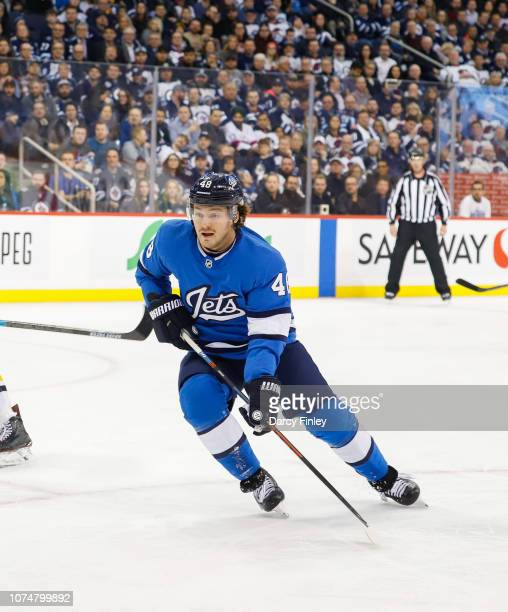 Brendan Lemieux of the Winnipeg Jets follows the play down the ice during second period action against the Pittsburgh Penguins at the Bell MTS Place...