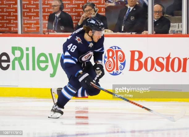 Brendan Lemieux of the Winnipeg Jets follows the play down the ice during third period action against the Vegas Golden Knights at the Bell MTS Place...