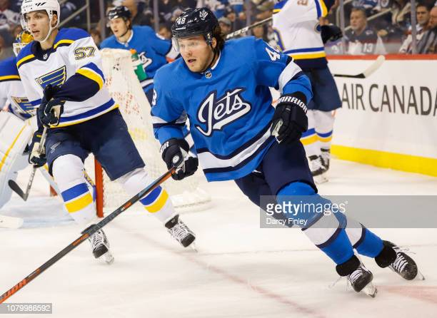 Brendan Lemieux of the Winnipeg Jets follows the play up the ice during first period action against the St Louis Blues at the Bell MTS Place on...