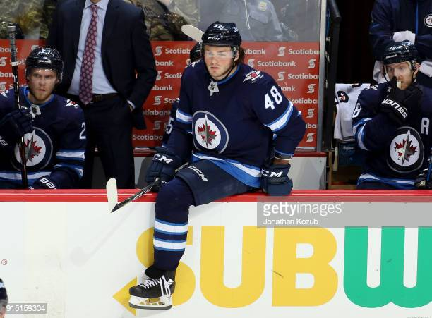 Brendan Lemieux of the Winnipeg Jets gets set to change on the fly during third period action against the Arizona Coyotes at the Bell MTS Place on...