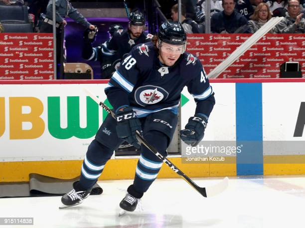 Brendan Lemieux of the Winnipeg Jets hits the ice prior to puck drop against the Arizona Coyotes at the Bell MTS Place on February 6 2018 in Winnipeg...