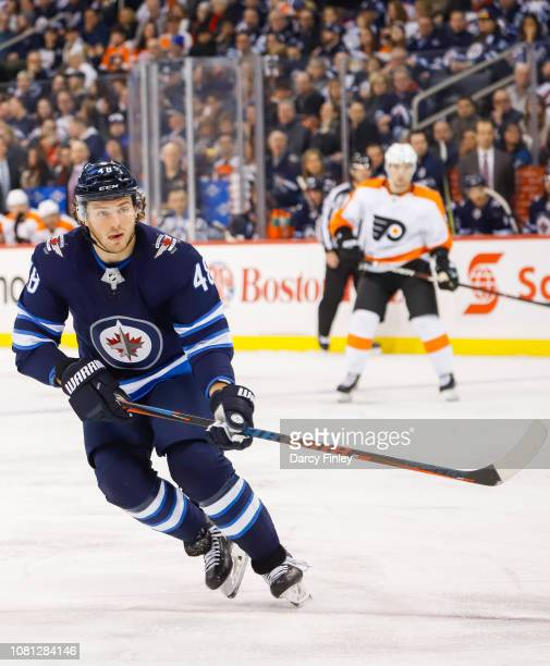 Brendan Lemieux of the Winnipeg Jets keeps an eye on the play during third period action against the Philadelphia Flyers at the Bell MTS Place on...