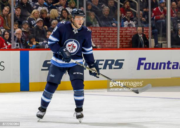 Brendan Lemieux of the Winnipeg Jets keeps an eye on the play during third period action against the Montreal Canadiens at the Bell MTS Place on...