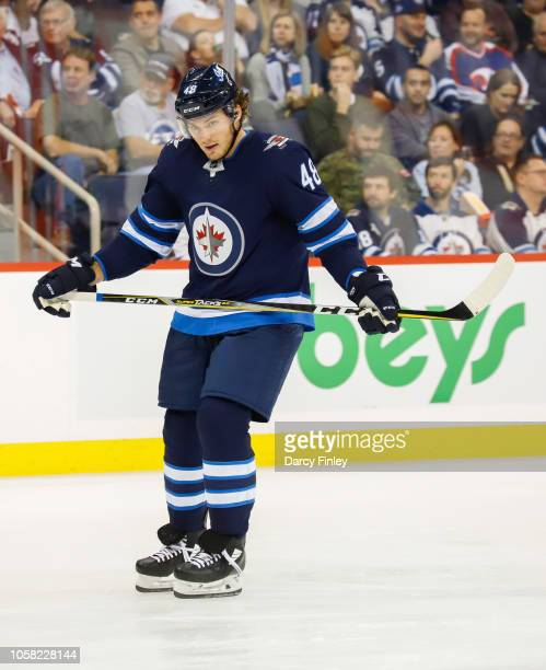 Brendan Lemieux of the Winnipeg Jets looks on during a second period stoppage in play against the Vancouver Canucks at the Bell MTS Place on October...
