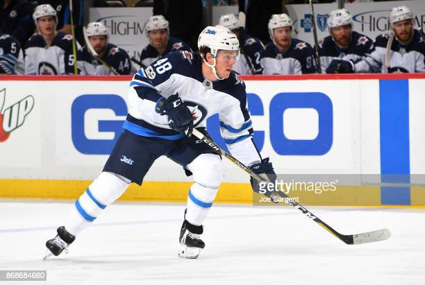 Brendan Lemieux of the Winnipeg Jets skates against the Pittsburgh Penguins at PPG Paints Arena on October 26 2017 in Pittsburgh Pennsylvania