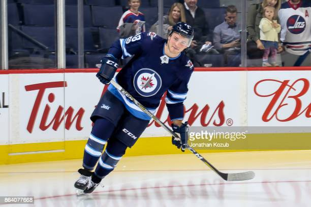 Brendan Lemieux of the Winnipeg Jets takes part in the pregame warm up prior to NHL action against the Minnesota Wild at the Bell MTS Place on...