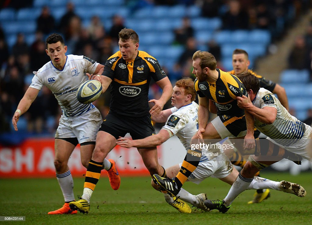 Brendan Macken of Wasps is tackled by Cathal Marsh of Leinster Rugby during the European Rugby Champions Cup match between Wasps and Leinster Rugby at Ricoh Arena on January 23, 2016 in Coventry, England.