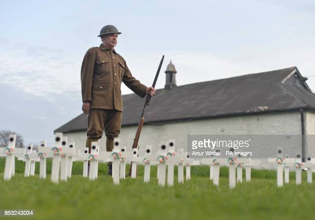 Brendan MacQuaile wearing a WWI uniform during a ceremony as relatives of Irish war dead and campaigners seek to preserve one of the last remaining...