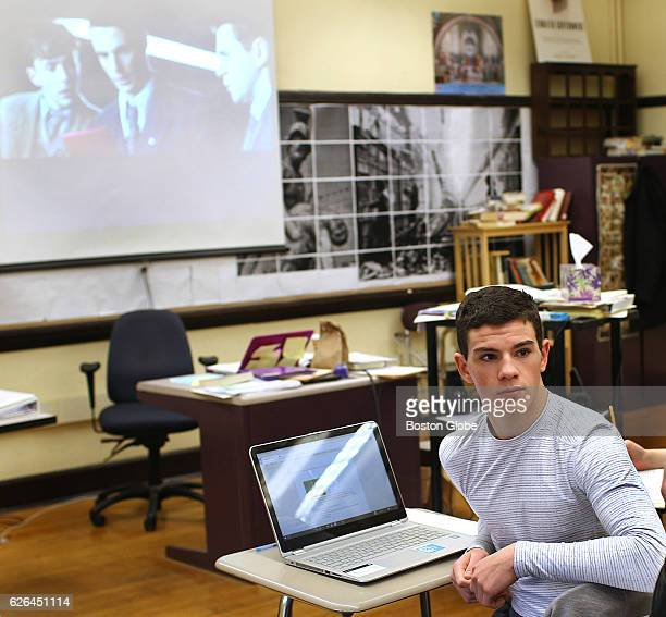 """Brendan Maguire concentrates on the discussion of the film """"The Imitation Game"""" in his humanities class at Boston Latin School on Feb. 23, 2016."""