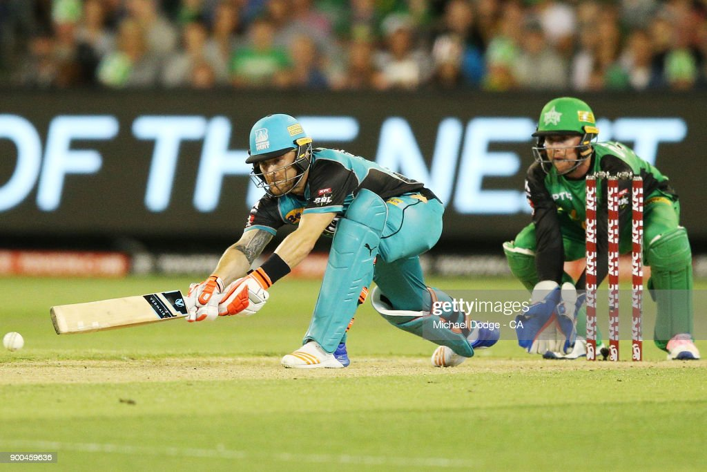 Brendan McCullum of the Heat bats during the Big Bash League match between the Melbourne Stars and the Brisbane Heat at Melbourne Cricket Ground on January 2, 2018 in Melbourne, Australia.