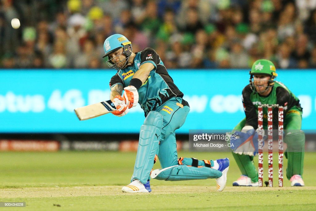 Brendan McCullum of the Heat hits a six during the Big Bash League match between the Melbourne Stars and the Brisbane Heat at Melbourne Cricket Ground on January 2, 2018 in Melbourne, Australia.