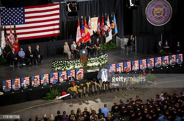 Brendan McDonough recites the Hothot's Prayer during a memorial service honoring 19 fallen firefighters at Tim's Toyota Center July 9 2013 in...