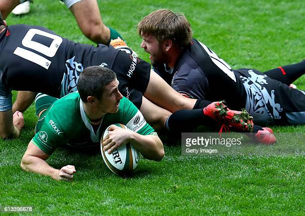 Brendan McKibbin of London Irish scores a try during the Greene King IPA Championship match between London Irish and London Welsh at Madejski Stadium...