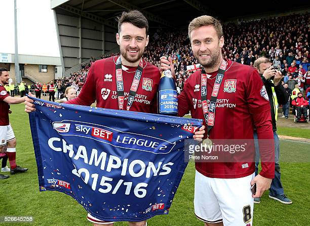Brendan Moloney and Joel Byrom celebrate after Sky Bet League Two match between Northampton Town and Luton Town at Sixfields Stadium on April 30 2016...