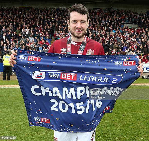 Brendan Moloney of Northampton Town celebrates after Sky Bet League Two match between Northampton Town and Luton Town at Sixfields Stadium on April...