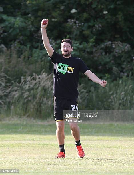 Brendan Moloney of Northampton Town celebrates after taking a catch during a 20/20 Cricket Match between Bold Dragoon CC and Northampton Town FC in...