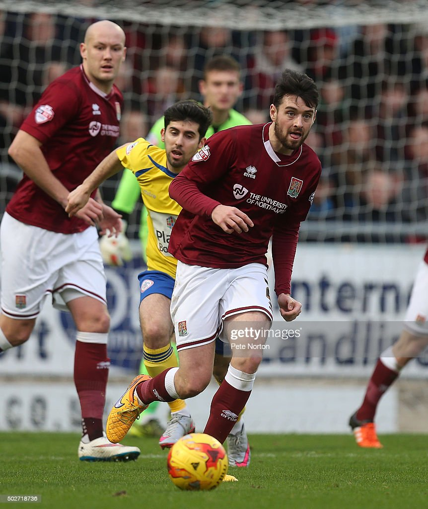 Brendan Moloney of Northampton Town in action during the Sky Bet League Two match between Northampton Town and Accrington Stanley at Sixfields Stadium on December 28, 2015 in Northampton, England.