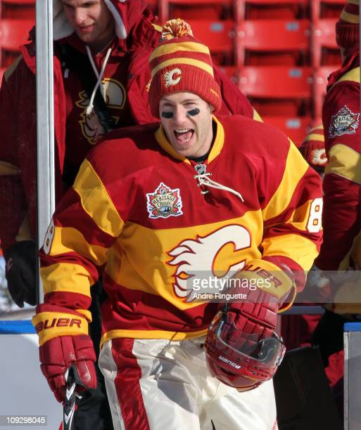 Brendan Morrison of the Calgary Flames skates out for the practice session the day before the 2011 NHL Heritage Classic at McMahon Stadium on...