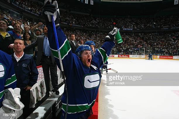 Brendan Morrison of the Vancouver Canucks celebrates at the end of the game against the Dallas Stars during Game 7 of the 2007 Western Conference...