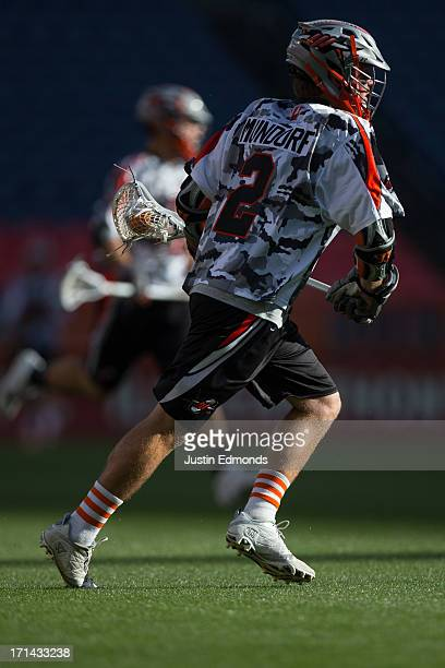 Brendan Mundorf of the Denver Outlaws in action against the Ohio Machine at Sports Authority Field at Mile High on June 22 2013 in Denver Colorado