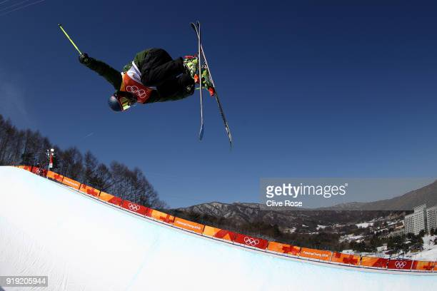Brendan Newby of Ireland in action during Freestyle Skiing Ski Halfpipe training on day eight of the PyeongChang 2018 Winter Olympic Games at Phoenix...