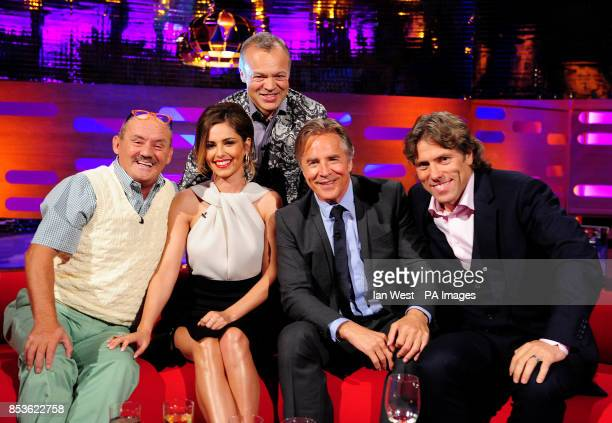 Brendan O'Carroll Cheryl Cole Graham Norton Don Johnson and John Bishop during filming of the Graham Norton Show at the London Studios south London...
