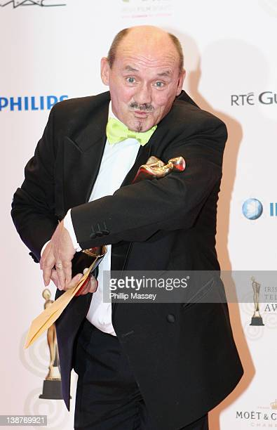 Brendan O'Carroll wins the Best TV Entertainment Programme award for 'Mrs Brown's Boys' at the 'Irish Film and Television Awards' at Convention...