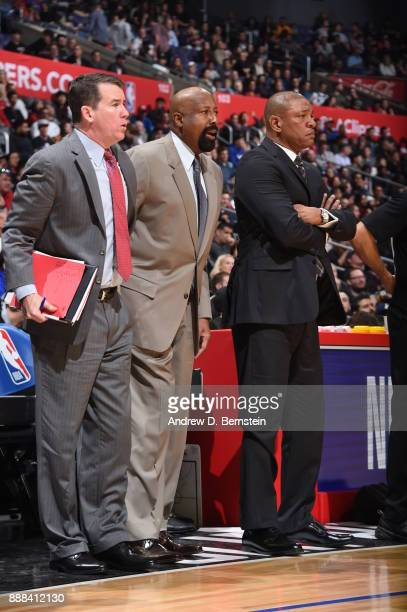 Brendan O'Connor Mike Woodson and Doc Rivers of the LA Clippers during the game against the Minnesota Timberwolves on December 6 2017 at STAPLES...