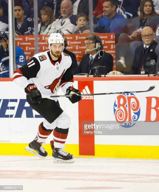 Brendan Perlini of the Arizona Coyotes follows the play down the ice during first period action against the Winnipeg Jets at the Bell MTS Place on...