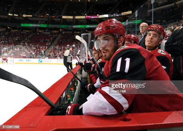 Brendan Perlini of the Arizona Coyotes looks on from the bench during first period action against the Columbus Blue Jackets at Gila River Arena on...