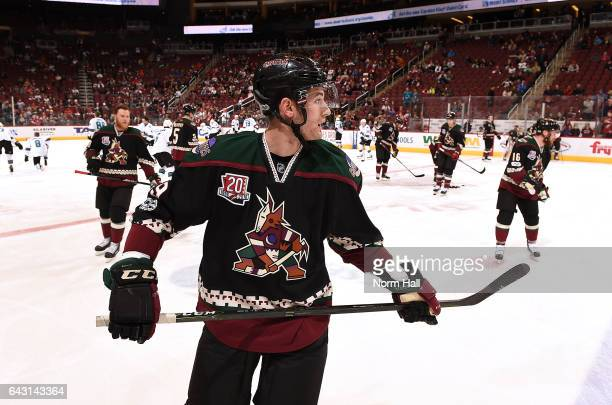 Brendan Perlini of the Arizona Coyotes prepares for a game against the San Jose Sharks at Gila River Arena on February 18 2017 in Glendale Arizona