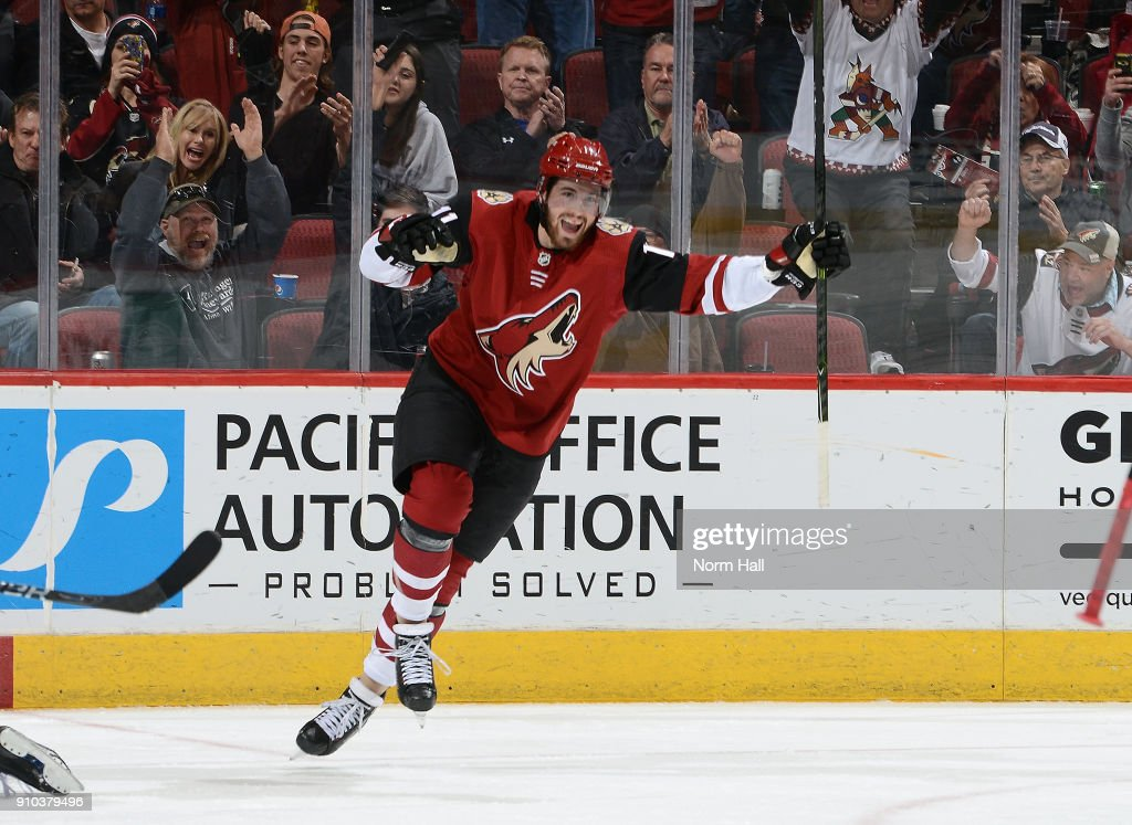 Brendan Perlini #11 of the Arizona Coyotes reacts after his third period goal against the Columbus Blue Jackets at Gila River Arena on January 25, 2018 in Glendale, Arizona.