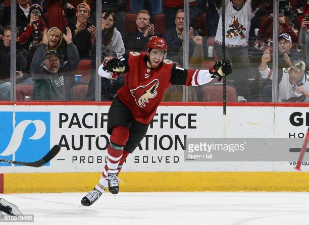 Brendan Perlini of the Arizona Coyotes reacts after his third period goal against the Columbus Blue Jackets at Gila River Arena on January 25 2018 in...