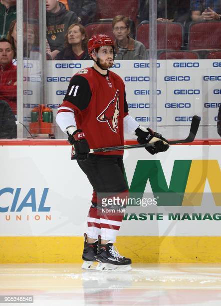 Brendan Perlini of the Arizona Coyotes skates up ice against the Edmonton Oilers at Gila River Arena on January 12 2018 in Glendale Arizona